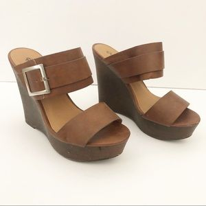 Qupid Brown Double Strap Wedge Sandal Shoes 6.5